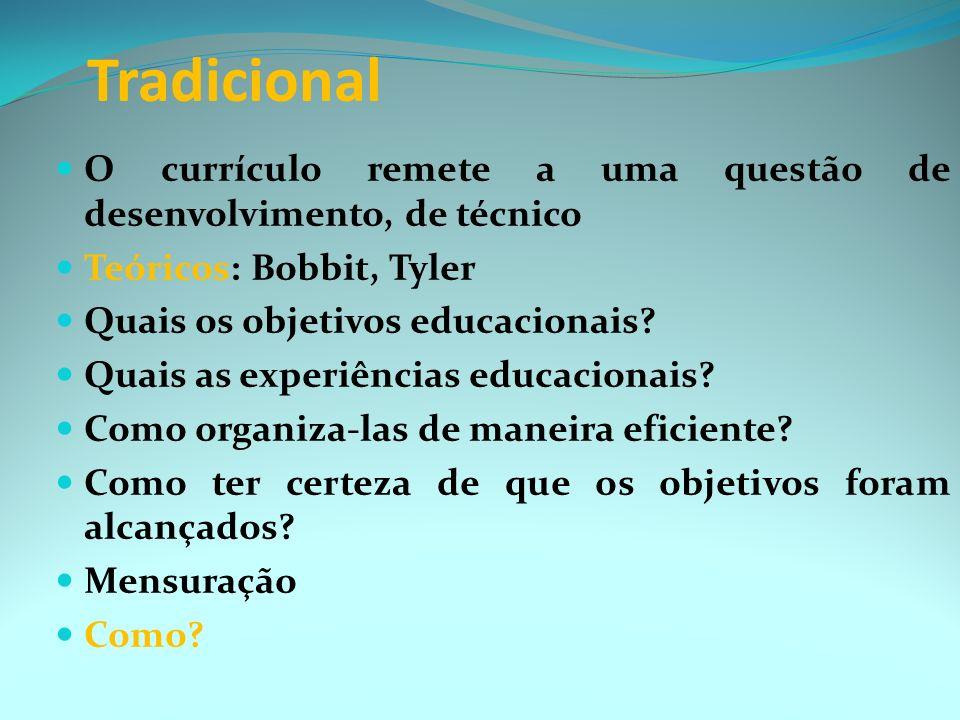 Tradicional O currículo remete a uma questão de desenvolvimento, de técnico. Teóricos: Bobbit, Tyler.