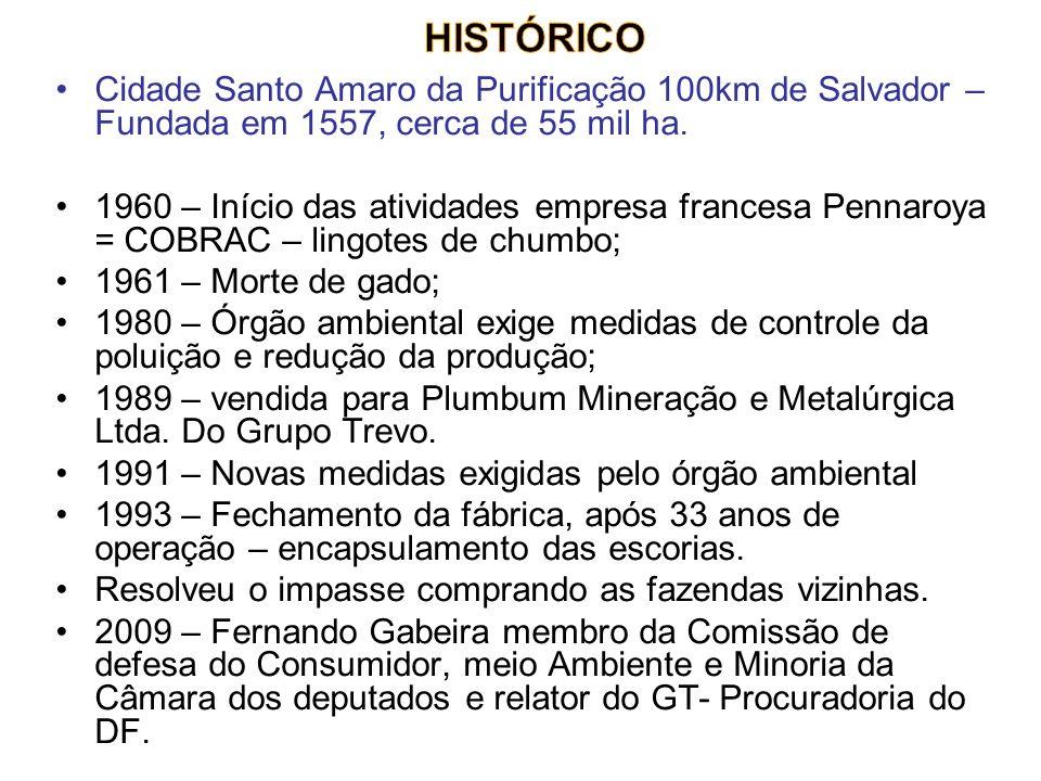 HISTÓRICO Cidade Santo Amaro da Purificação 100km de Salvador – Fundada em 1557, cerca de 55 mil ha.
