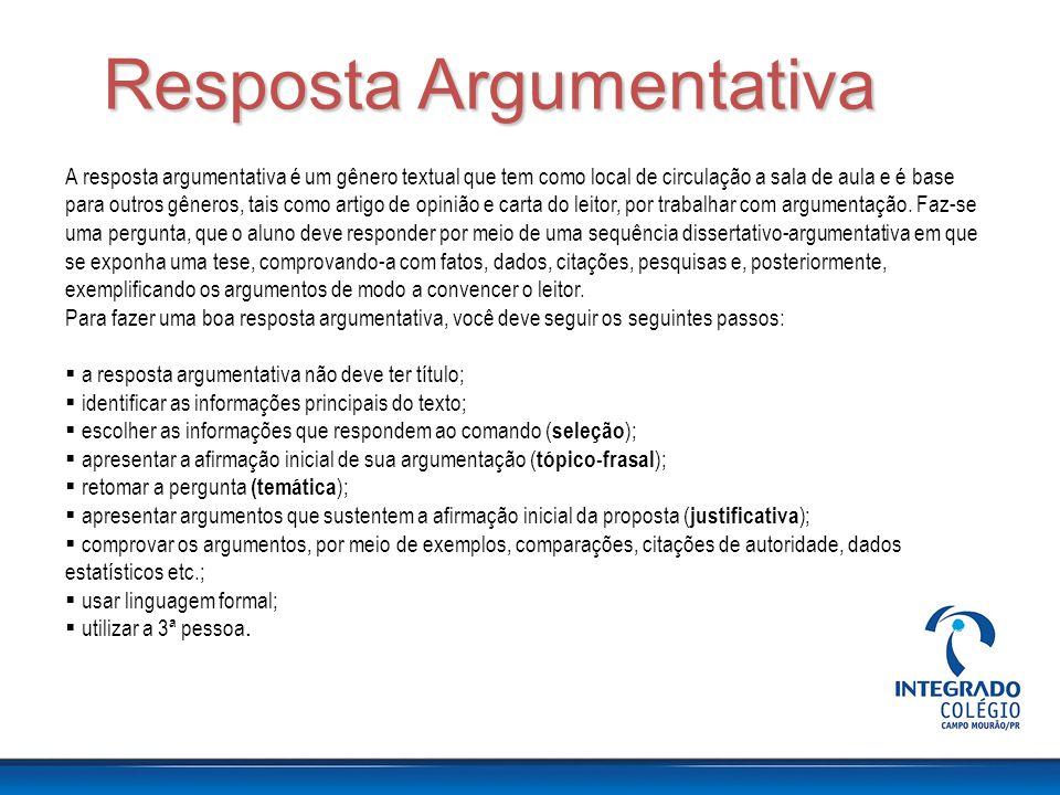 Resposta Argumentativa