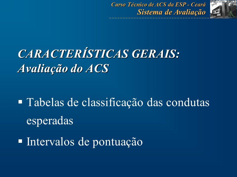 CARACTERÍSTICAS GERAIS: Avaliação do ACS