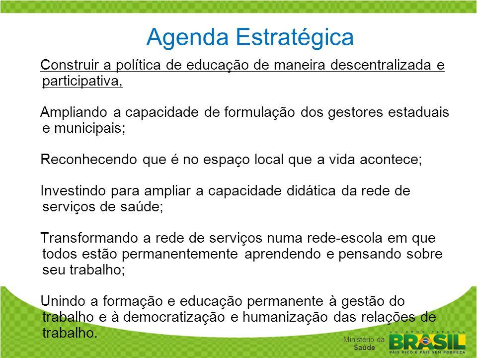 Agenda Estratégica Construir a política de educação de maneira descentralizada e participativa,