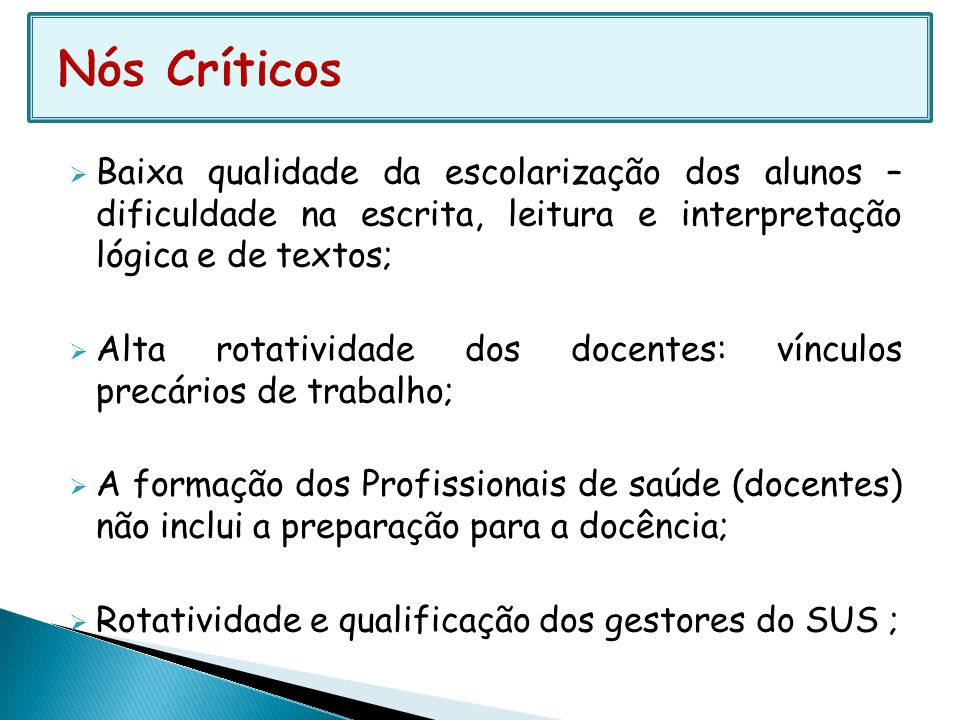 Nós Críticos Baixa qualidade da escolarização dos alunos – dificuldade na escrita, leitura e interpretação lógica e de textos;