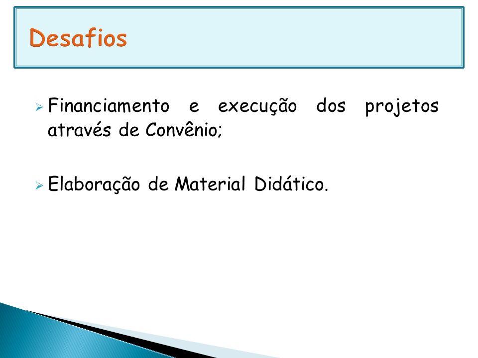 Desafios Financiamento e execução dos projetos através de Convênio;
