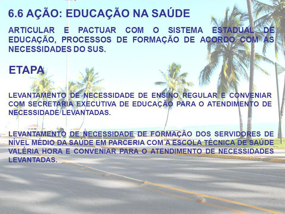 6.6 AÇÃO: EDUCAÇÃO NA SAÚDE