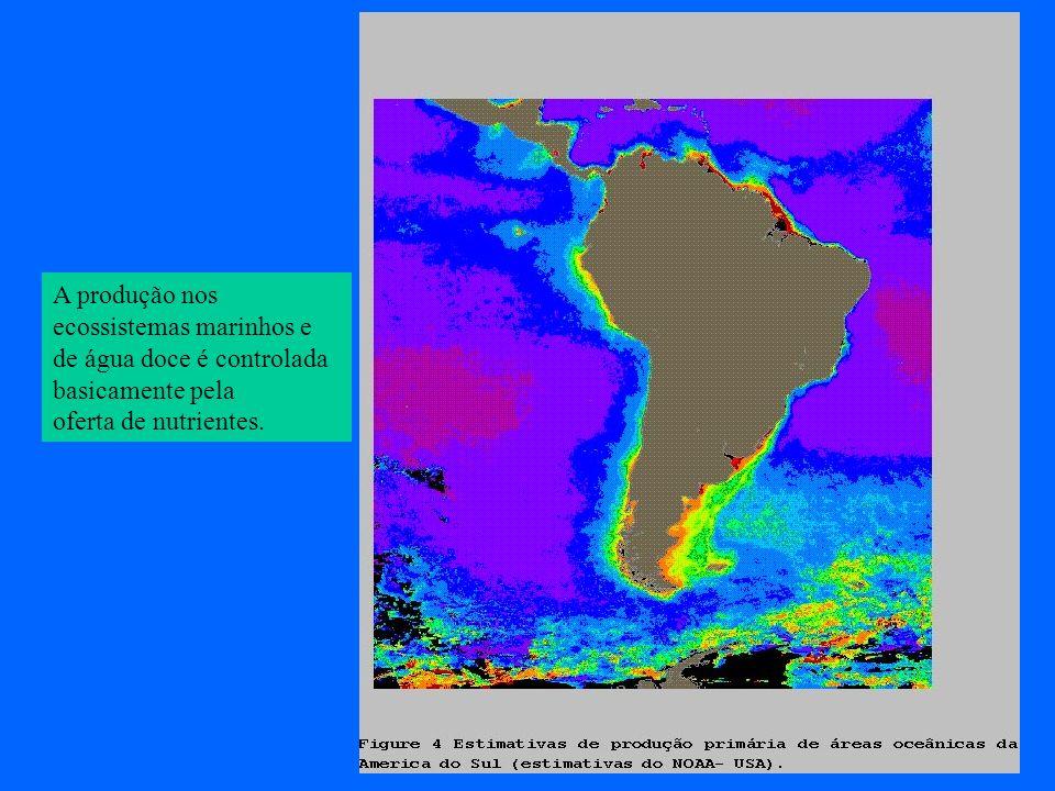 A produção nos ecossistemas marinhos e. de água doce é controlada.