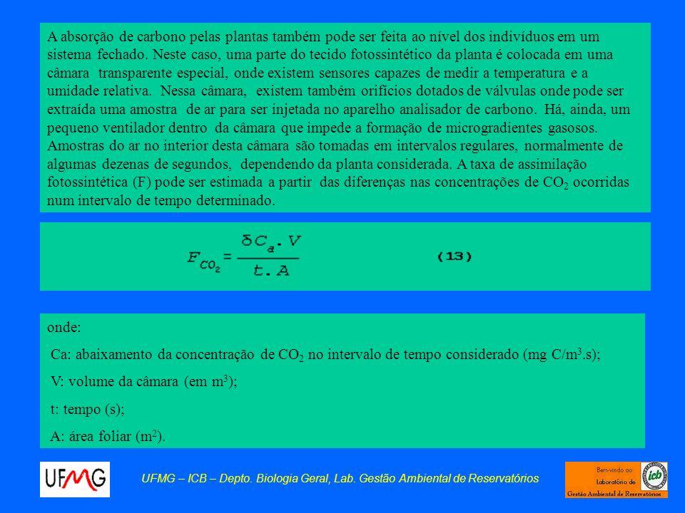V: volume da câmara (em m3); t: tempo (s); A: área foliar (m2).