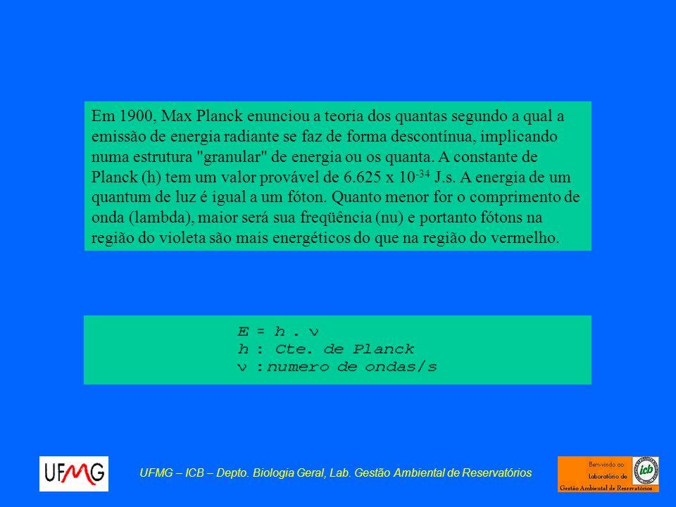 Em 1900, Max Planck enunciou a teoria dos quantas segundo a qual a emissão de energia radiante se faz de forma descontínua, implicando numa estrutura granular de energia ou os quanta. A constante de Planck (h) tem um valor provável de 6.625 x 10-34 J.s. A energia de um quantum de luz é igual a um fóton. Quanto menor for o comprimento de onda (lambda), maior será sua freqüência (nu) e portanto fótons na região do violeta são mais energéticos do que na região do vermelho.