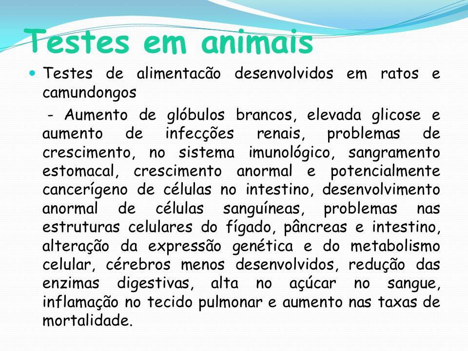 Testes em animais Testes de alimentacão desenvolvidos em ratos e camundongos.