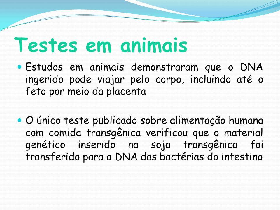 Testes em animais Estudos em animais demonstraram que o DNA ingerido pode viajar pelo corpo, incluindo até o feto por meio da placenta.