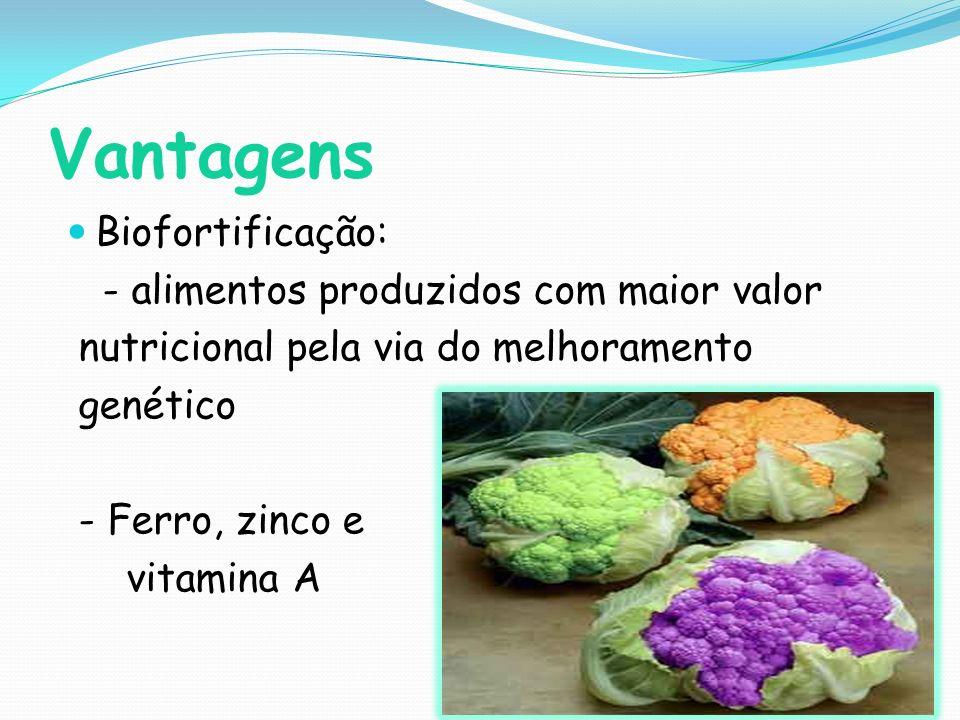 Vantagens Biofortificação: - alimentos produzidos com maior valor