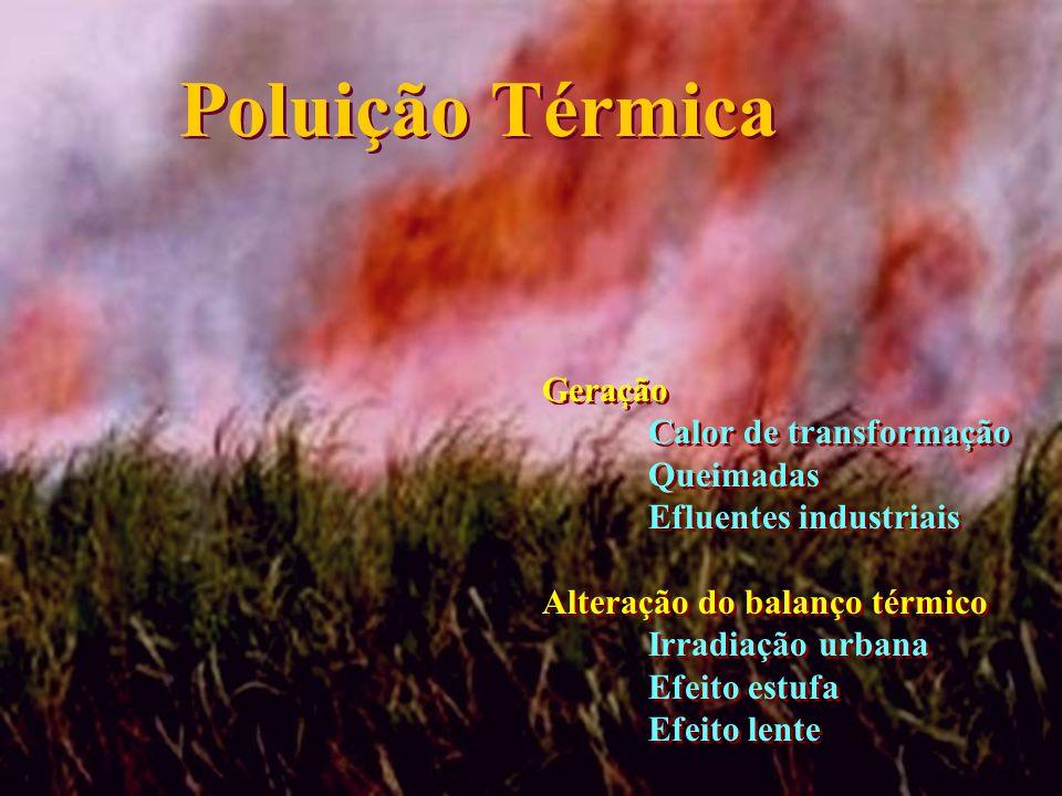 Poluição Térmica Geração Calor de transformação Queimadas