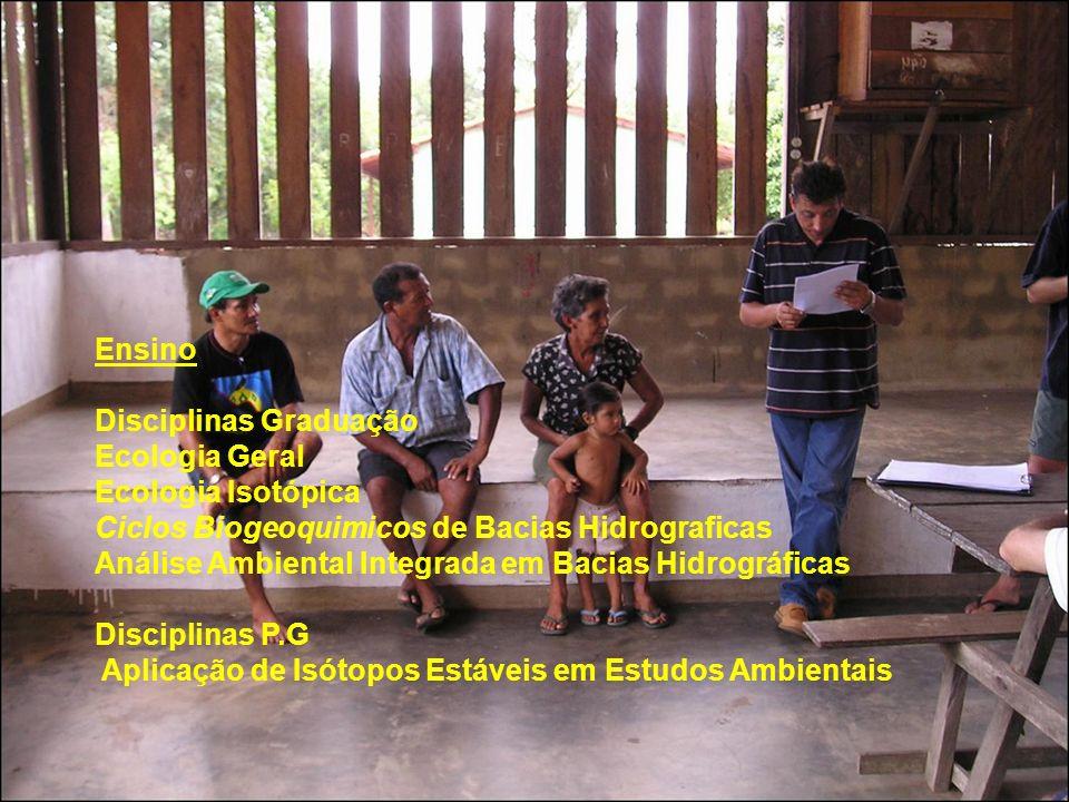 Ensino Disciplinas Graduação. Ecologia Geral. Ecologia Isotópica. Ciclos Biogeoquimicos de Bacias Hidrograficas.