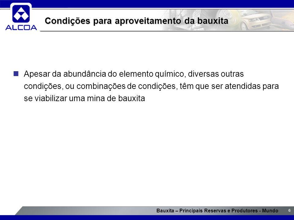 Condições para aproveitamento da bauxita