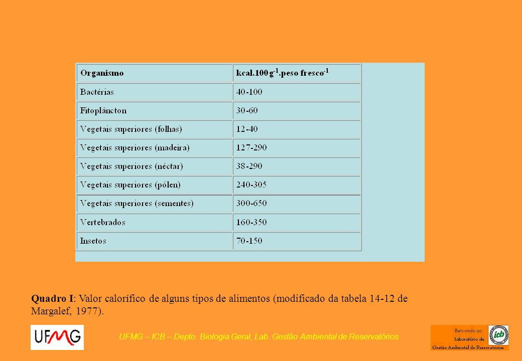 Quadro I: Valor calorífico de alguns tipos de alimentos (modificado da tabela 14-12 de Margalef, 1977).