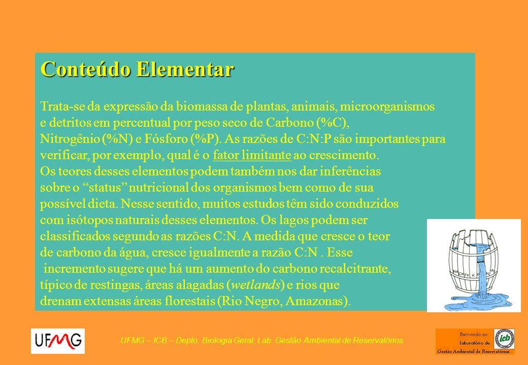 Conteúdo Elementar Trata-se da expressão da biomassa de plantas, animais, microorganismos. e detritos em percentual por peso seco de Carbono (%C),