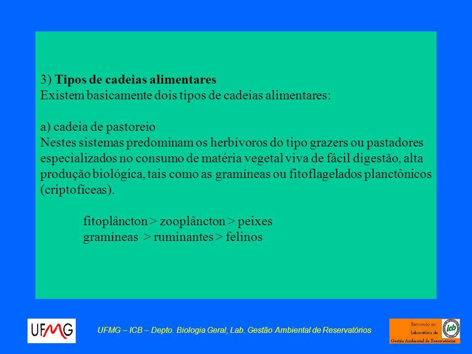 3) Tipos de cadeias alimentares Existem basicamente dois tipos de cadeias alimentares: a) cadeia de pastoreio Nestes sistemas predominam os herbívoros do tipo grazers ou pastadores especializados no consumo de matéria vegetal viva de fácil digestão, alta produção biológica, tais como as gramíneas ou fitoflagelados planctônicos (criptofíceas). fitoplâncton > zooplâncton > peixes gramíneas > ruminantes > felinos