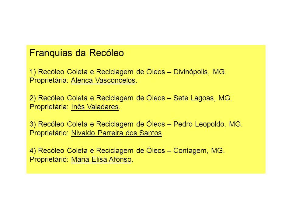 Franquias da Recóleo 1) Recóleo Coleta e Reciclagem de Óleos – Divinópolis, MG. Proprietária: Alenca Vasconcelos.