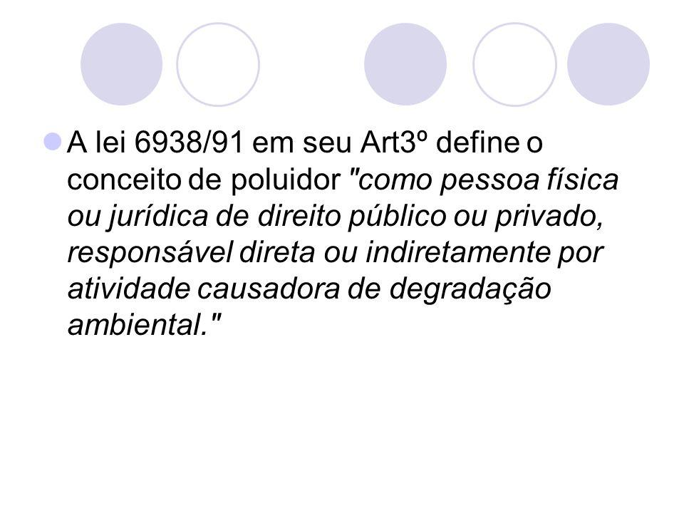 A lei 6938/91 em seu Art3º define o conceito de poluidor como pessoa física ou jurídica de direito público ou privado, responsável direta ou indiretamente por atividade causadora de degradação ambiental.