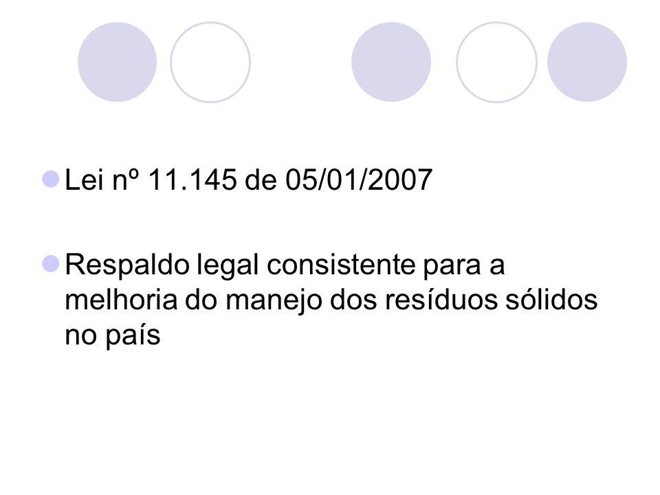 Lei nº 11.145 de 05/01/2007Respaldo legal consistente para a melhoria do manejo dos resíduos sólidos no país.