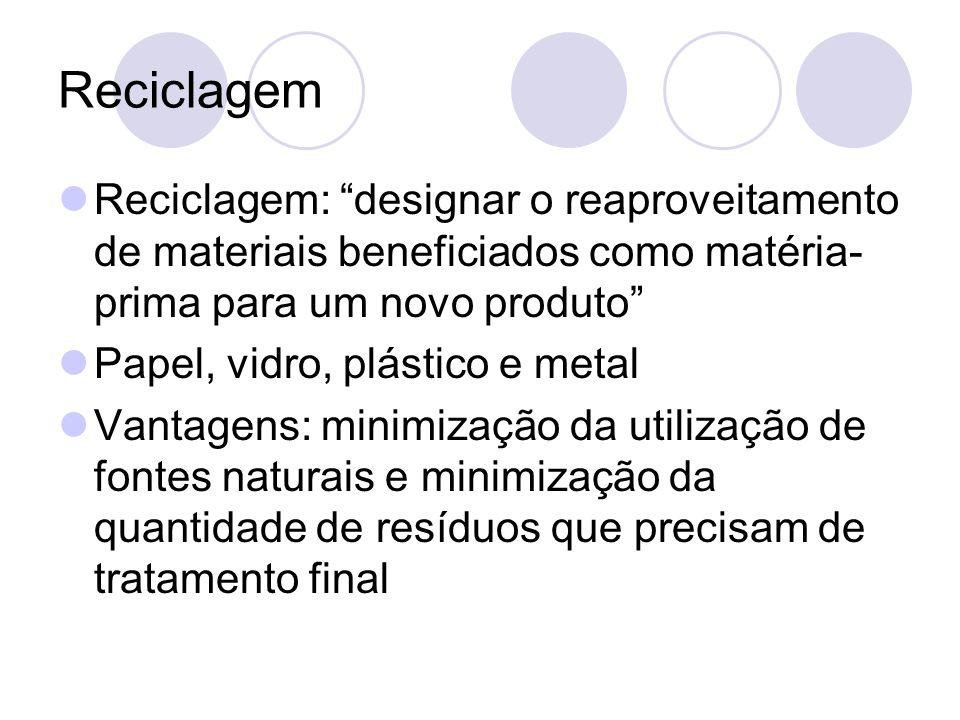 Reciclagem Reciclagem: designar o reaproveitamento de materiais beneficiados como matéria-prima para um novo produto