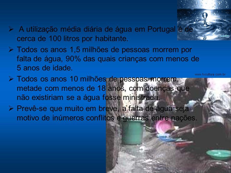 A utilização média diária de água em Portugal é de cerca de 100 litros por habitante.