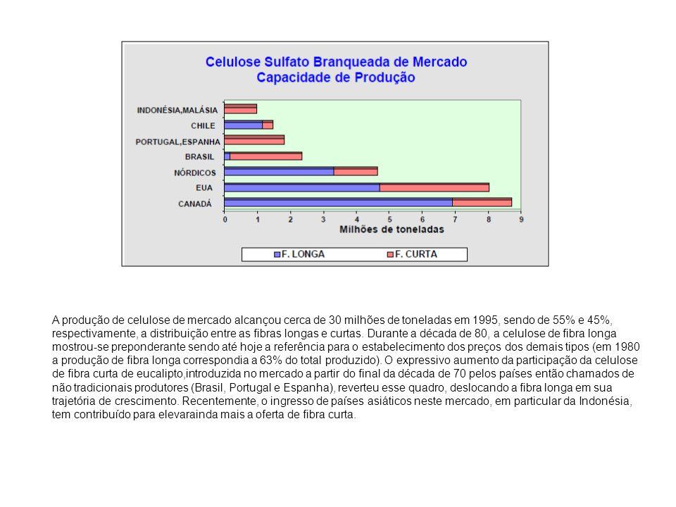 A produção de celulose de mercado alcançou cerca de 30 milhões de toneladas em 1995, sendo de 55% e 45%, respectivamente, a distribuição entre as fibras longas e curtas.