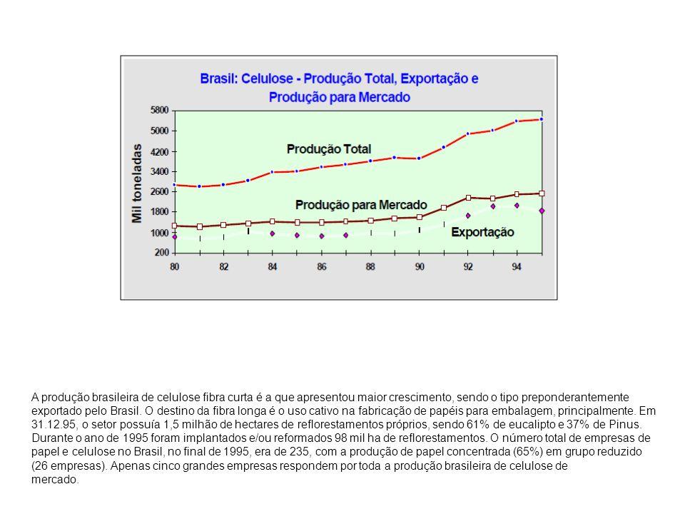 A produção brasileira de celulose fibra curta é a que apresentou maior crescimento, sendo o tipo preponderantemente exportado pelo Brasil. O destino da fibra longa é o uso cativo na fabricação de papéis para embalagem, principalmente. Em 31.12.95, o setor possuía 1,5 milhão de hectares de reflorestamentos próprios, sendo 61% de eucalipto e 37% de Pinus. Durante o ano de 1995 foram implantados e/ou reformados 98 mil ha de reflorestamentos. O número total de empresas de papel e celulose no Brasil, no final de 1995, era de 235, com a produção de papel concentrada (65%) em grupo reduzido (26 empresas). Apenas cinco grandes empresas respondem por toda a produção brasileira de celulose de