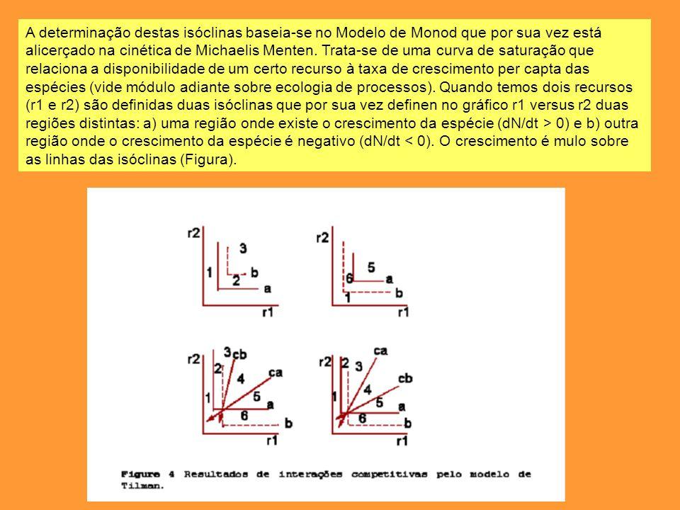 A determinação destas isóclinas baseia-se no Modelo de Monod que por sua vez está alicerçado na cinética de Michaelis Menten.