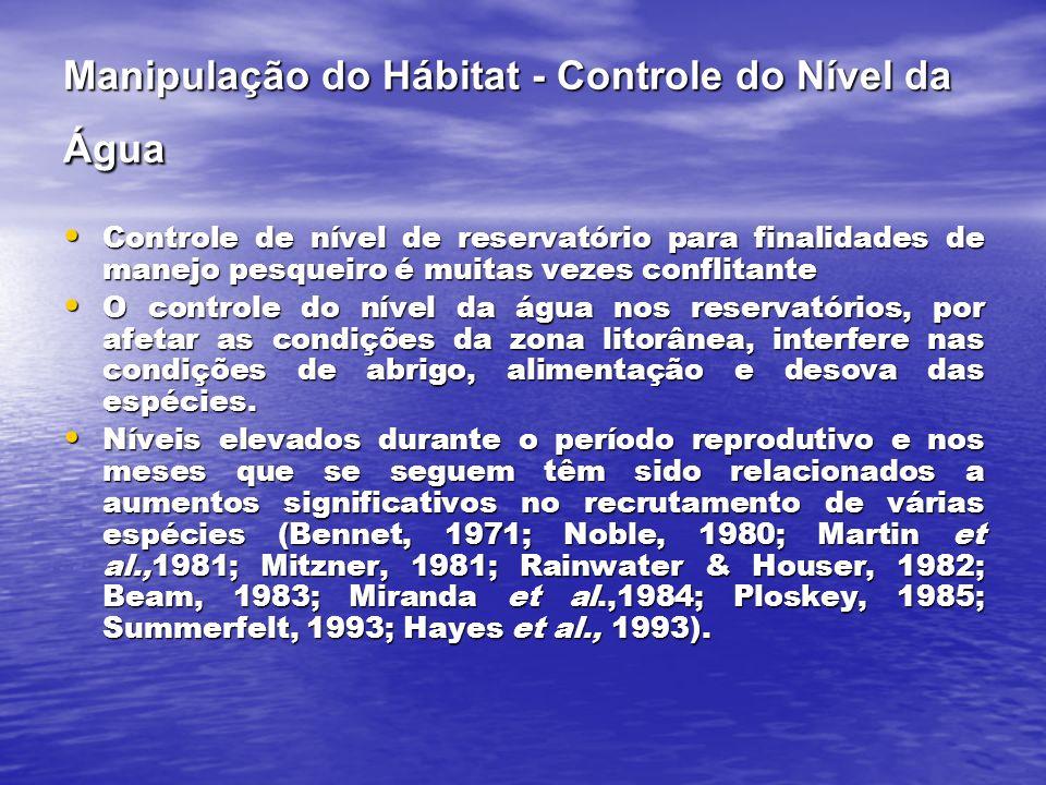 Manipulação do Hábitat - Controle do Nível da Água