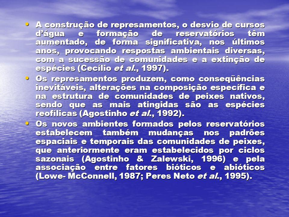 A construção de represamentos, o desvio de cursos d'água e formação de reservatórios têm aumentado, de forma significativa, nos últimos anos, provocando respostas ambientais diversas, com a sucessão de comunidades e a extinção de espécies (Cecílio et al., 1997).