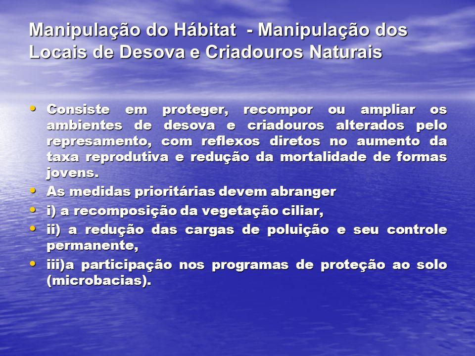 Manipulação do Hábitat - Manipulação dos Locais de Desova e Criadouros Naturais