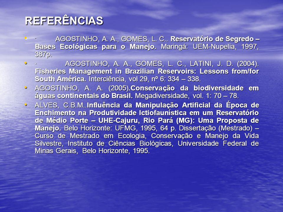 REFERÊNCIAS · AGOSTINHO, A. A., GOMES, L. C.. Reservatório de Segredo – Bases Ecológicas para o Manejo. Maringá: UEM-Nupelia, 1997, 387p.