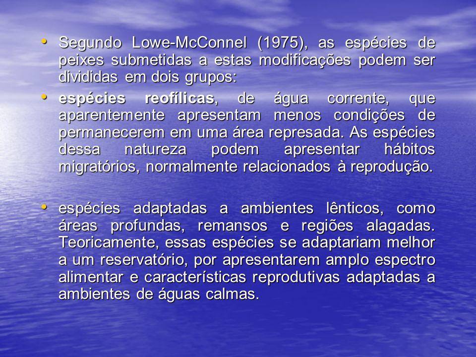 Segundo Lowe-McConnel (1975), as espécies de peixes submetidas a estas modificações podem ser divididas em dois grupos:
