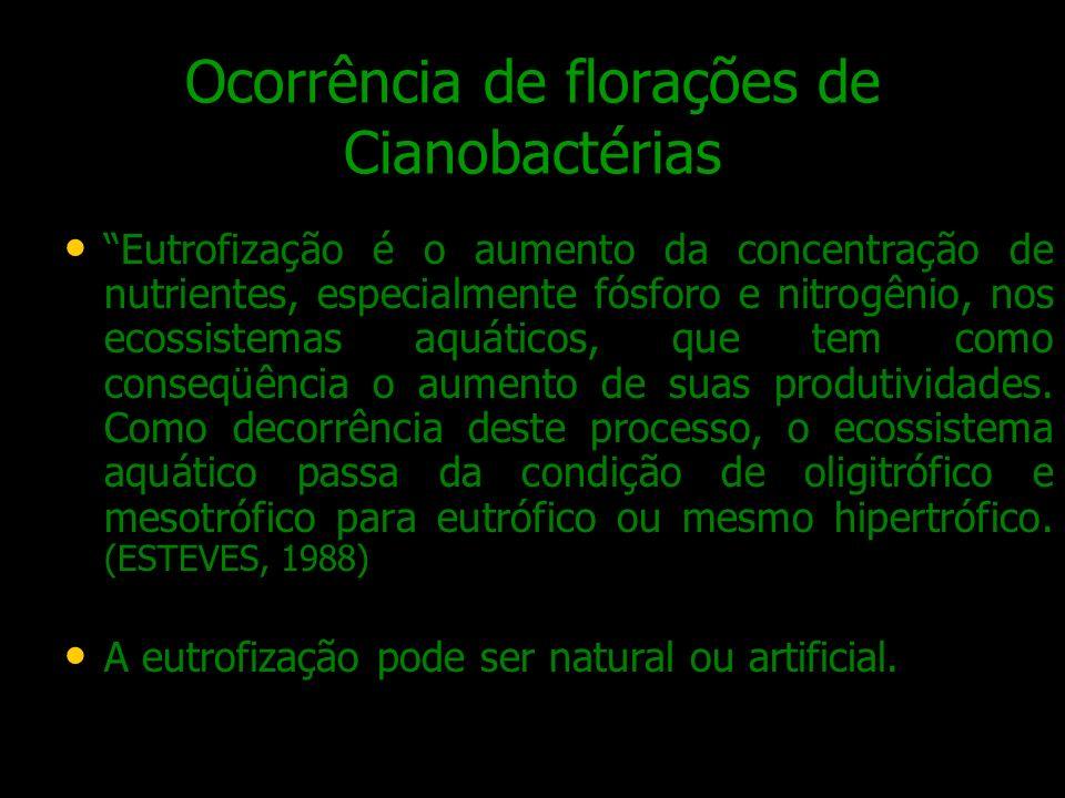 Ocorrência de florações de Cianobactérias