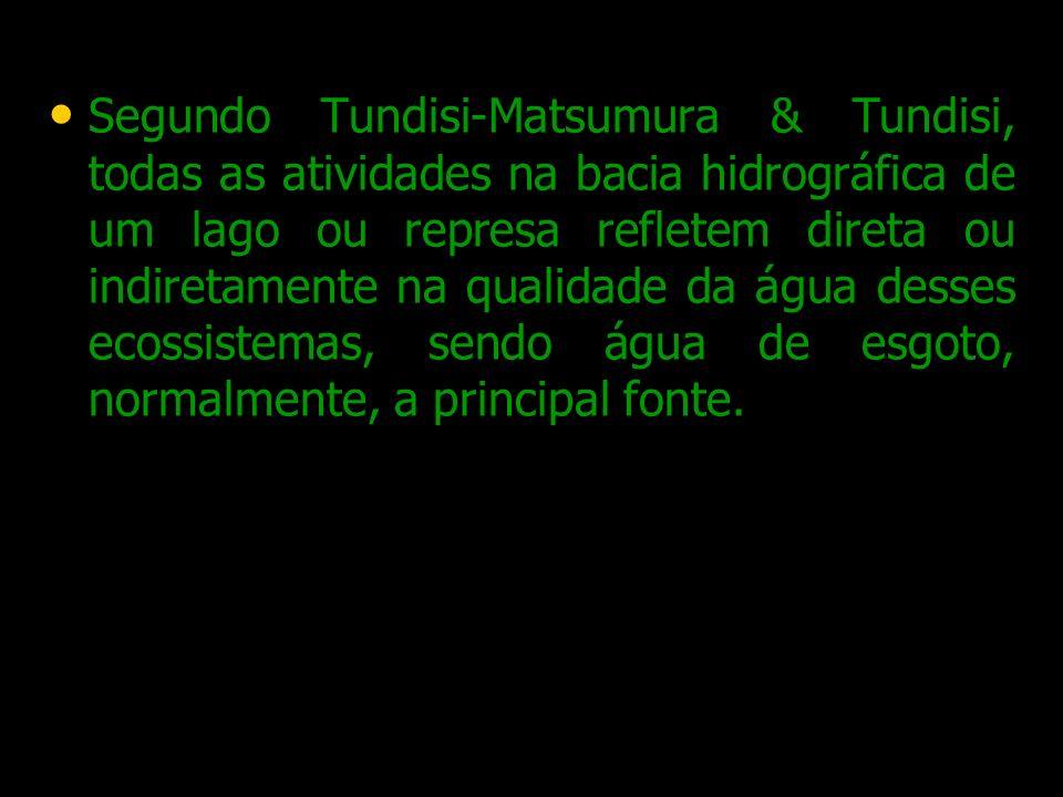 Segundo Tundisi-Matsumura & Tundisi, todas as atividades na bacia hidrográfica de um lago ou represa refletem direta ou indiretamente na qualidade da água desses ecossistemas, sendo água de esgoto, normalmente, a principal fonte.