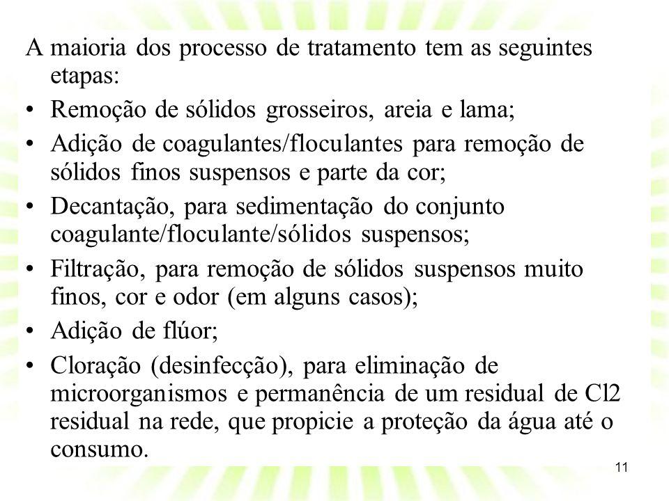 A maioria dos processo de tratamento tem as seguintes etapas: