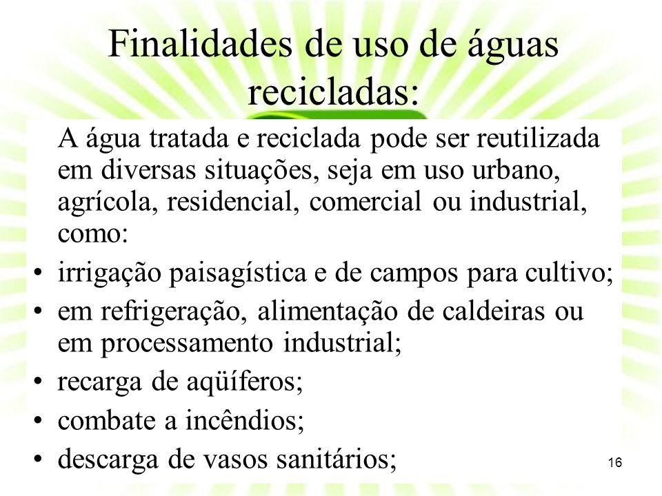 Finalidades de uso de águas recicladas: