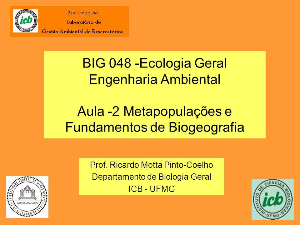 BIG 048 -Ecologia Geral Engenharia Ambiental Aula -2 Metapopulações e Fundamentos de Biogeografia