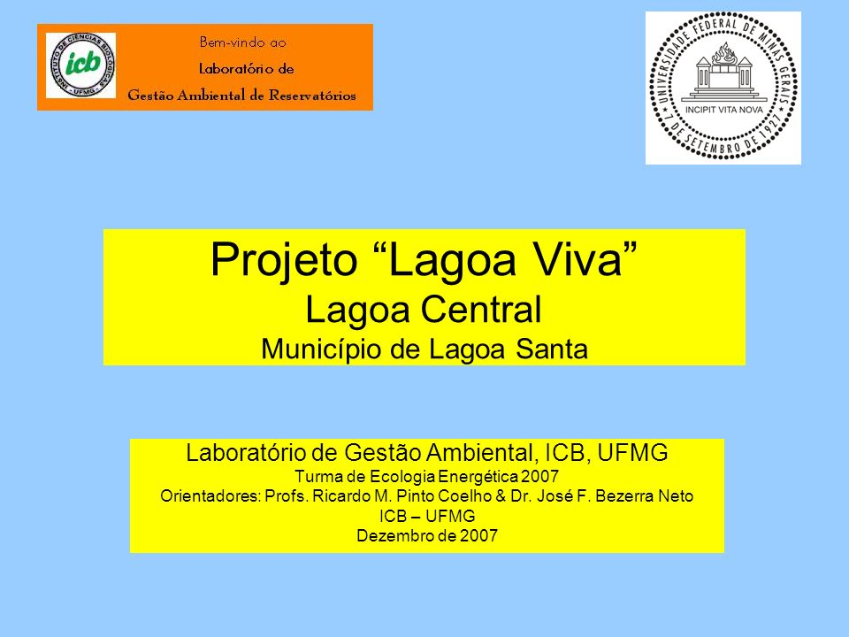 Projeto Lagoa Viva Lagoa Central Município de Lagoa Santa