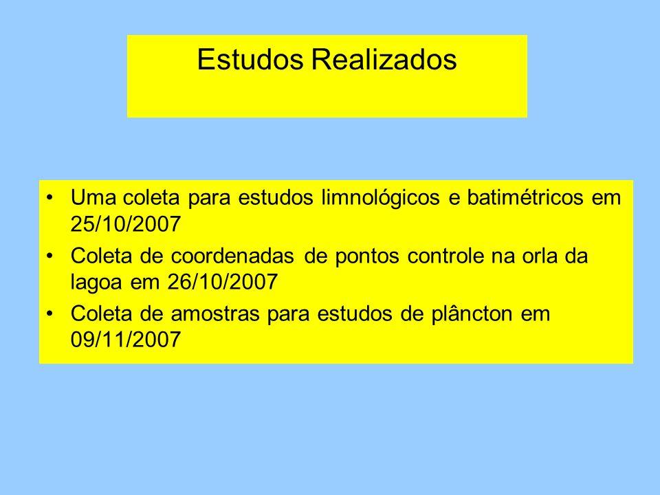 Estudos Realizados Uma coleta para estudos limnológicos e batimétricos em 25/10/2007.