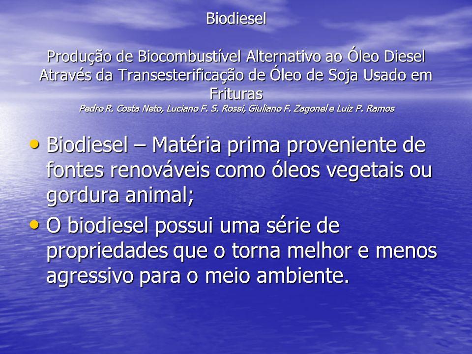 Biodiesel Produção de Biocombustível Alternativo ao Óleo Diesel Através da Transesterificação de Óleo de Soja Usado em Frituras Pedro R. Costa Neto, Luciano F. S. Rossi, Giuliano F. Zagonel e Luiz P. Ramos