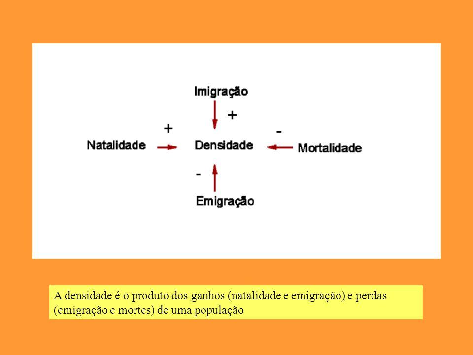 A densidade é o produto dos ganhos (natalidade e emigração) e perdas (emigração e mortes) de uma população