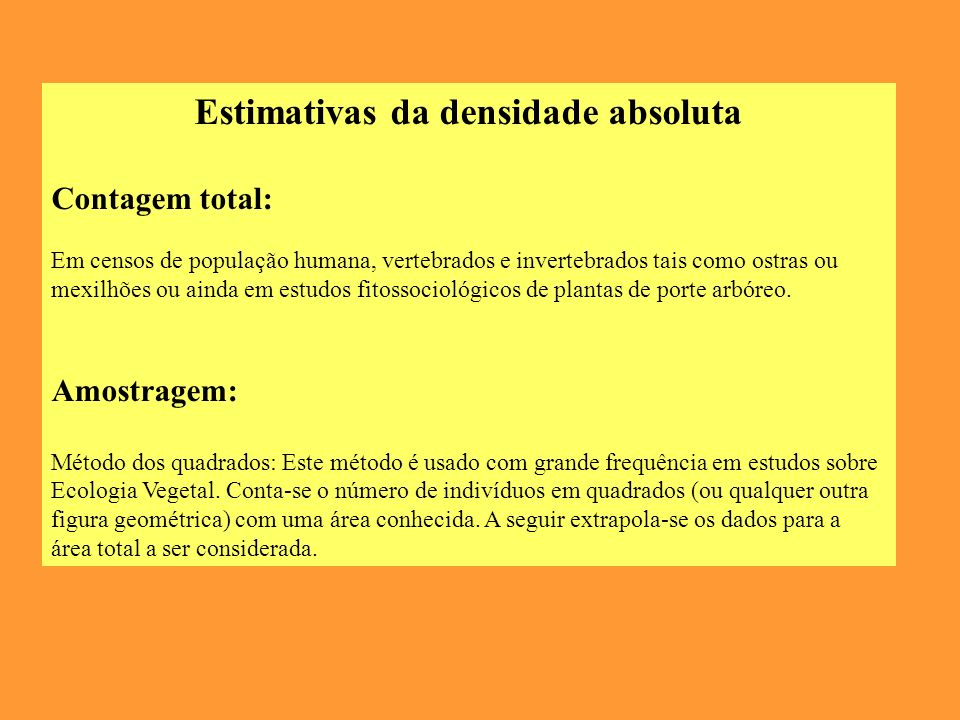 Estimativas da densidade absoluta
