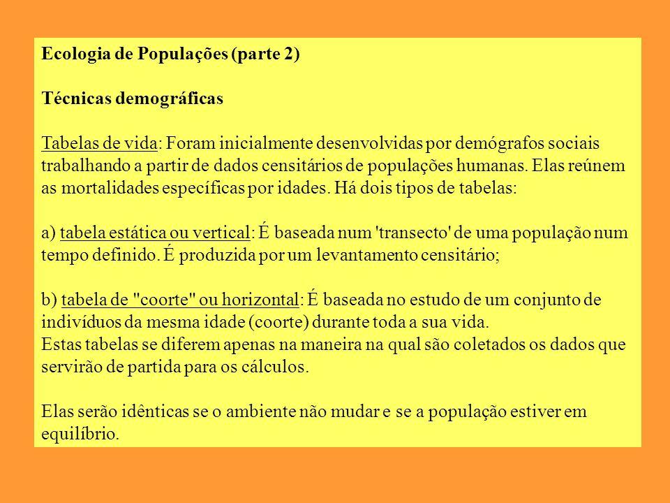 Ecologia de Populações (parte 2) Técnicas demográficas