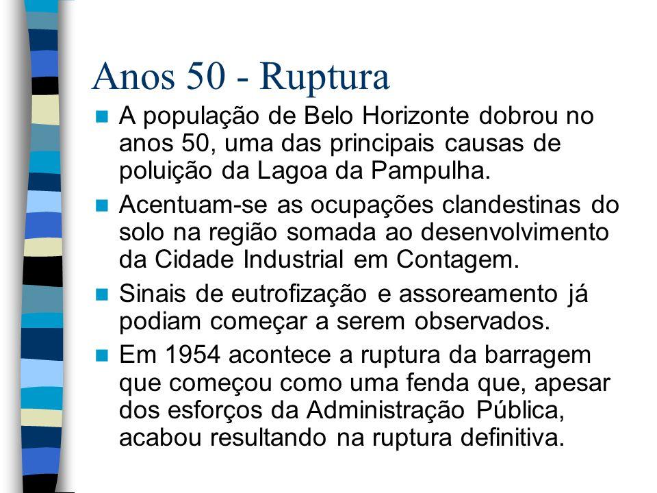 Anos 50 - RupturaA população de Belo Horizonte dobrou no anos 50, uma das principais causas de poluição da Lagoa da Pampulha.