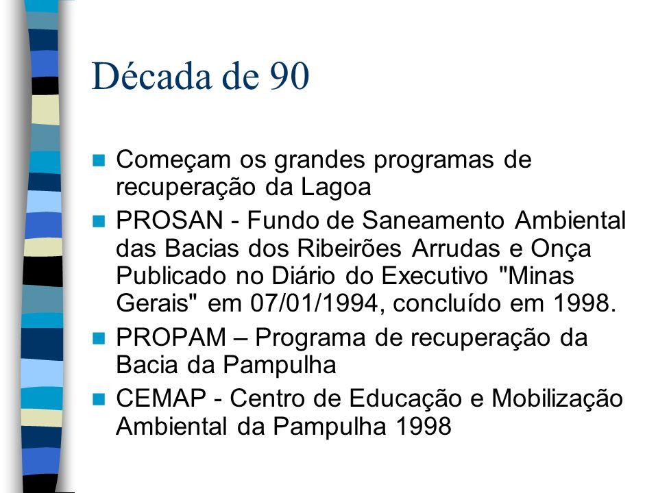 Década de 90 Começam os grandes programas de recuperação da Lagoa