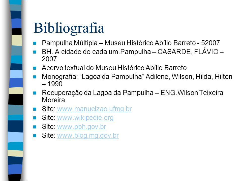 BibliografiaPampulha Múltipla – Museu Histórico Abílio Barreto - 52007. BH. A cidade de cada um.Pampulha – CASARDE, FLÁVIO – 2007.