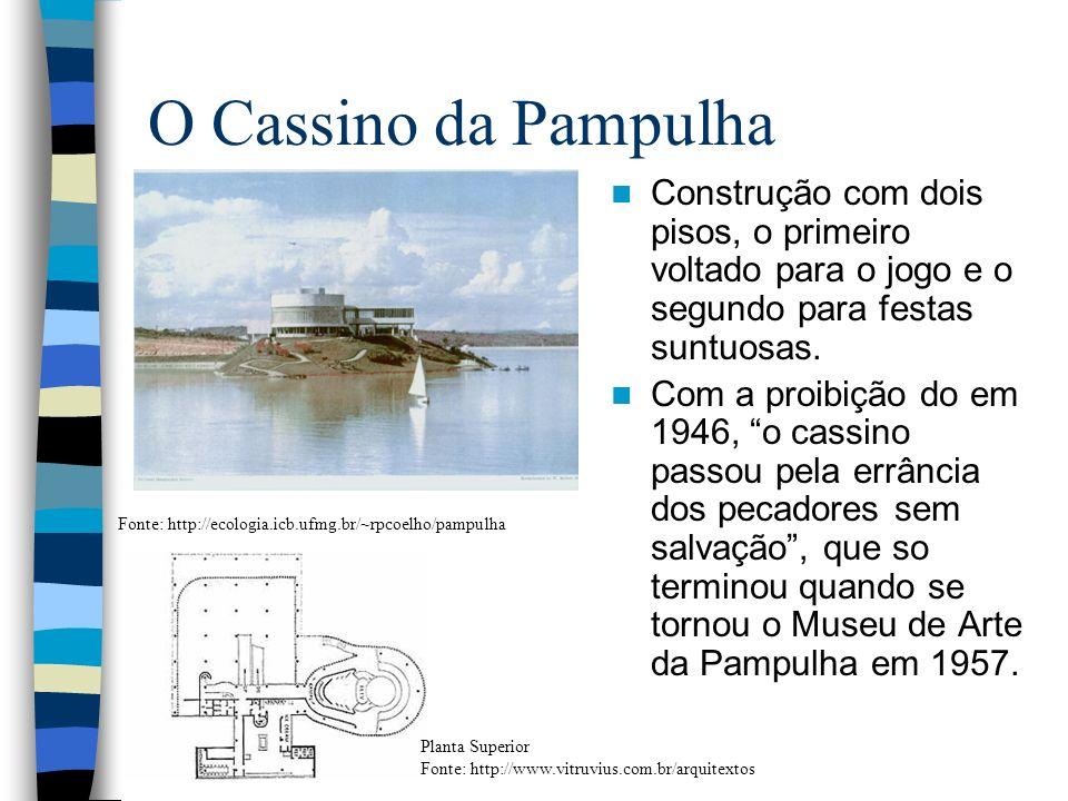 O Cassino da Pampulha Construção com dois pisos, o primeiro voltado para o jogo e o segundo para festas suntuosas.