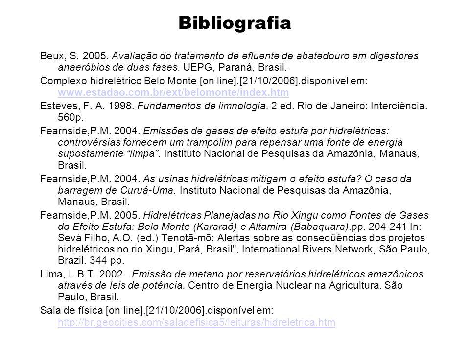 Bibliografia Beux, S. 2005. Avaliação do tratamento de efluente de abatedouro em digestores anaeróbios de duas fases. UEPG, Paraná, Brasil.