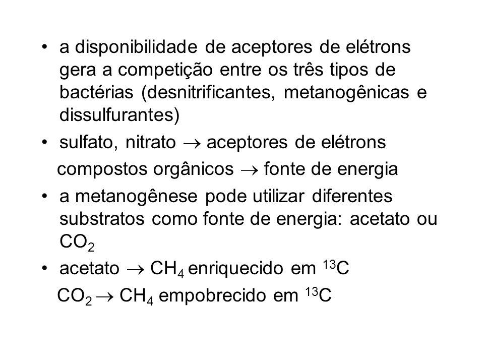 a disponibilidade de aceptores de elétrons gera a competição entre os três tipos de bactérias (desnitrificantes, metanogênicas e dissulfurantes)